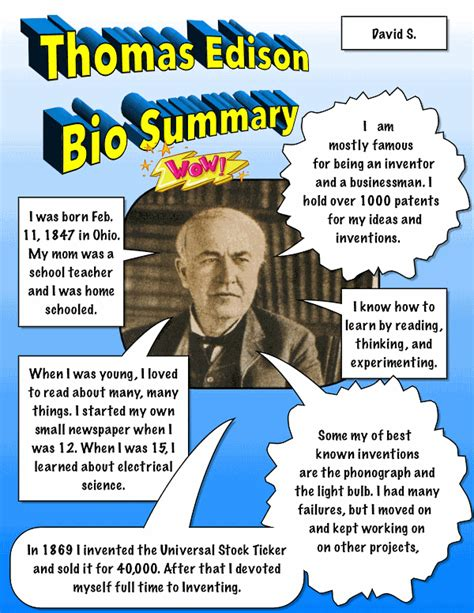 biography summary template biography summary comic lesson plan k 5 computer lab