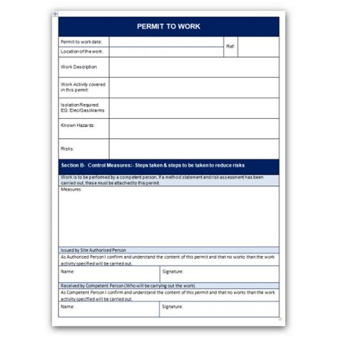 safe work permit template method of statement sle work method statement template