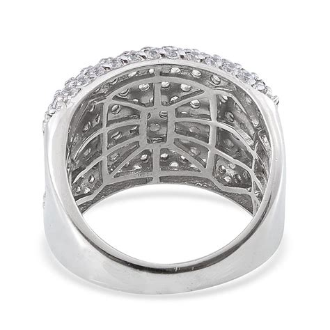 j francis bold cluster ring in platinum overlay sterling silver nickel free made with