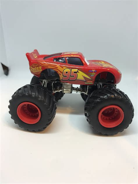 lightning mcqueen monster truck videos disney cars 1 55 custom monster truck lightning mcqueen