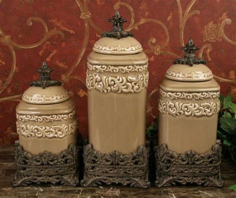 tuscan style kitchen canister sets tuscan old world drake design medium taupe kitchen