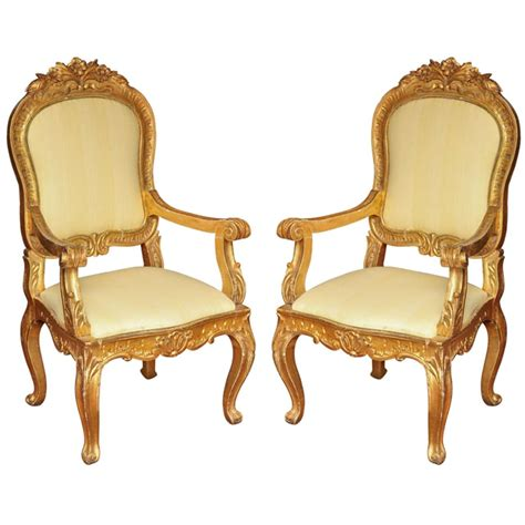 wood armchairs pair of 19 century italian gilt wood armchairs for sale at