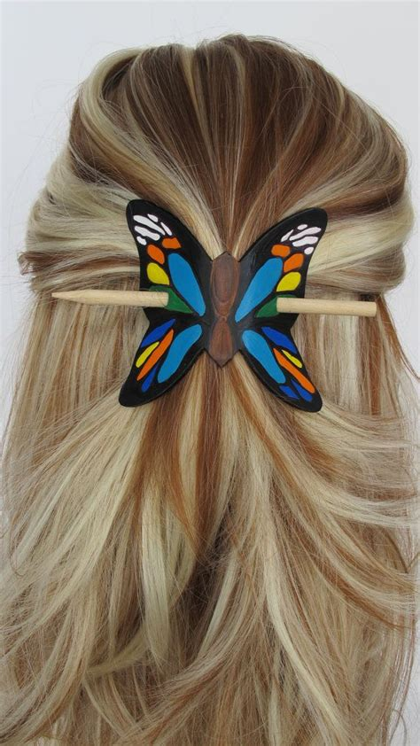Butterfly Hair Stick colorful butterfly leather stick barrette hair stick