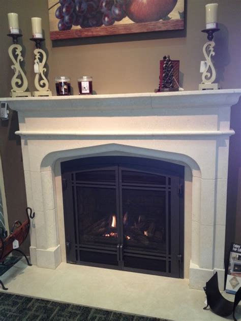 Gas Fireplace And Mantel Gas Fireplace And Limestone Mantel Traditional Indoor