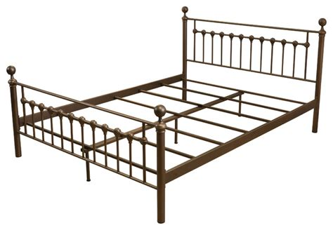 Iron King Size Bed Frame Bradford King Size Iron Metal Bed Frame Brown Traditional Panel Beds By Gdfstudio