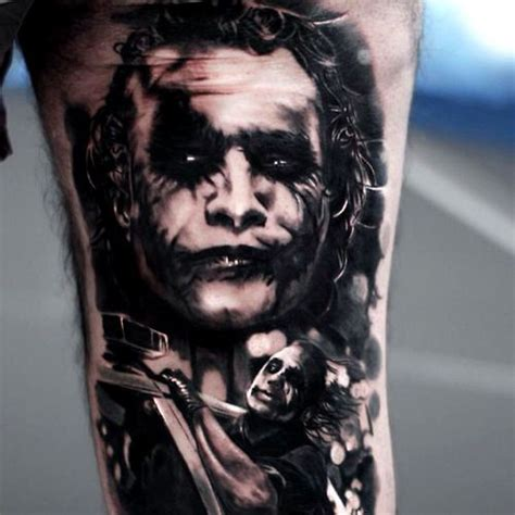 black and grey joker tattoo realistic black and grey joker tattoo by silvano fiato