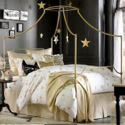 Gold And White Bedding by Maison Newton Focusing On My Caign Style Canopy Bed