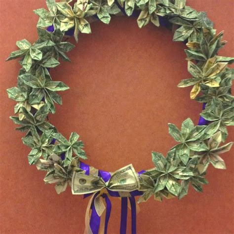 Money Origami Wreath - flower money wreath she s crafty wreaths
