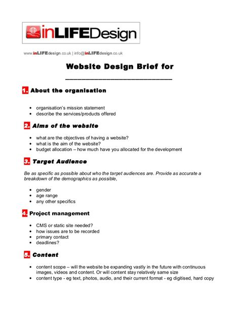 house design brief template for architect web design brief template