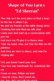 ed sheeran shape of you lyrics download shape of you lyrics ed sheeran for windows phone