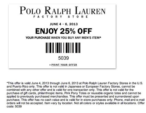 Printable Coupons Polo Outlet | 17 best images about coupon codes on pinterest ralph