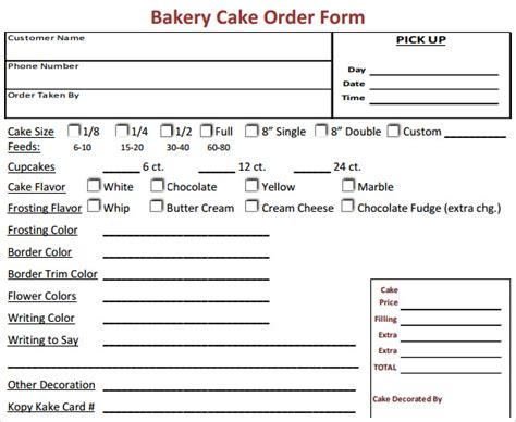 cupcake order form sle ideas