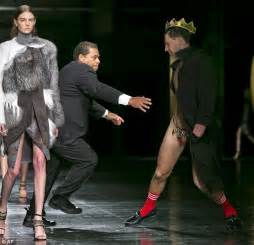 public view of men in thongs new york fashion week streaker in crown and thong storms