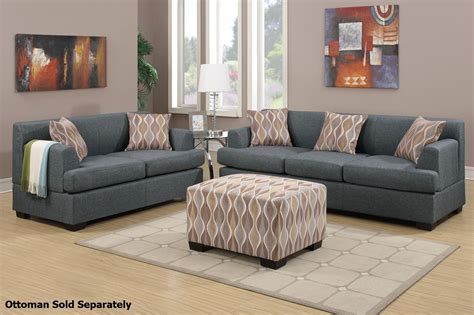 Fabric Sofa And Loveseat by Poundex Montreal F7973 F7972 Grey Fabric Sofa And Loveseat