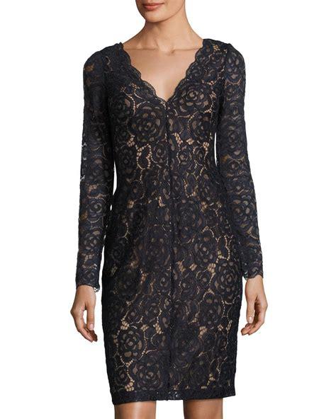 vera wang dresses cocktail dresses maxi dresses lyst vera wang long sleeve lace cocktail dress in blue