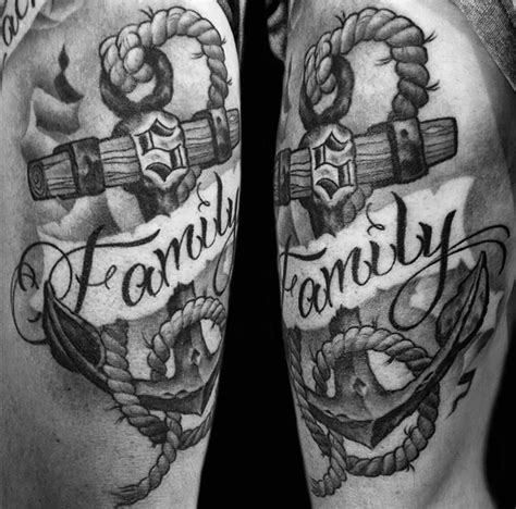 black and grey anchor with banner by audi tattoos