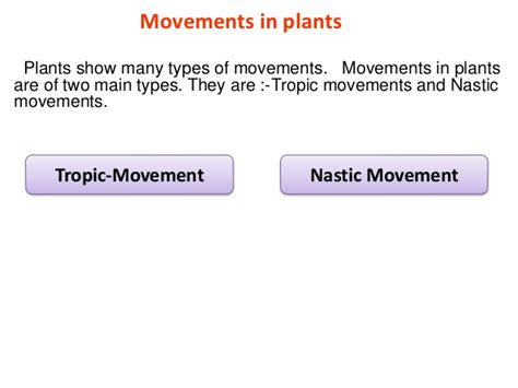 nastic and tropic movement in plants movements in plants