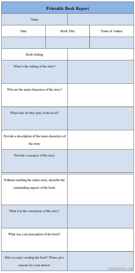 printable book report forms printable book report form sle forms
