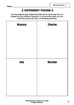 Worksheets for VOICES IN THE PARK - Anthony Browne