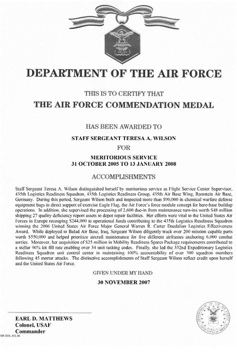 air force commendation medal template choice image