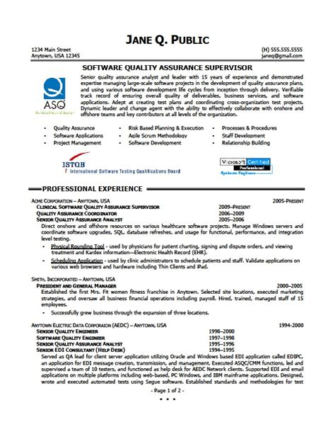 quality assurance resume exles california writing