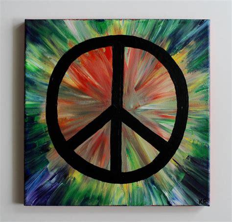 acrylic paint tie dye canvas rainbow tie dye hippie peace sign