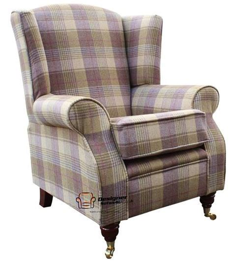 wingback armchairs uk arnold fireside high back wing armchair hunting tower grape check tweed wool ebay