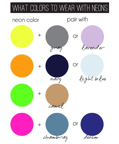 what colors go best together what colors go with neon this chart can help your