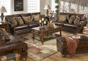 Furniture Set For Living Room Traditional Brown Bonded Leather Sofa Loveseat Living Room Set Pillows Nailheads