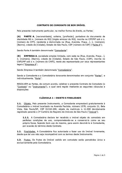 Contrato de Comodato de Imóvel | Modelo | Baixar em Word e