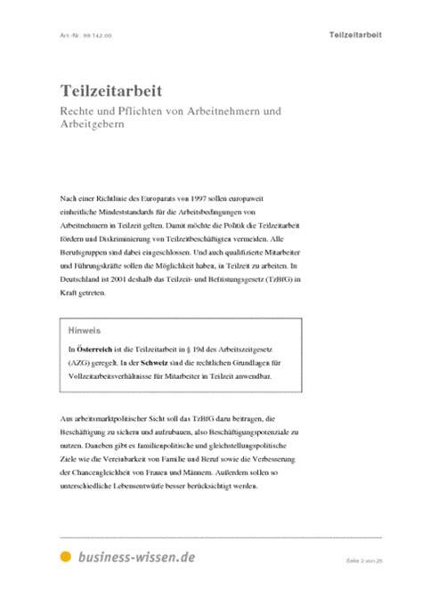 Antrag Teilzeit Vorlage Muster teilzeitarbeit management handbuch business wissen de