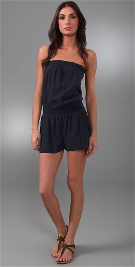 9376 Jumsuite Emily Navy joie emily strapless romper in blue navy lyst