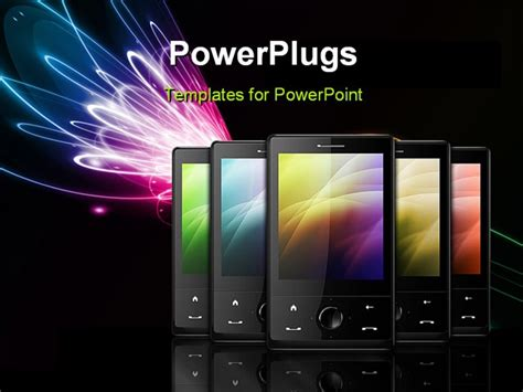 Five Black Cell Phones On Black Background Powerpoint Template Background Of Business Tele Cell Phone Powerpoint Template