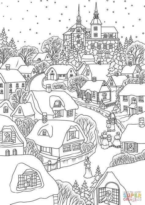 snowy village on christmas eve coloring page free
