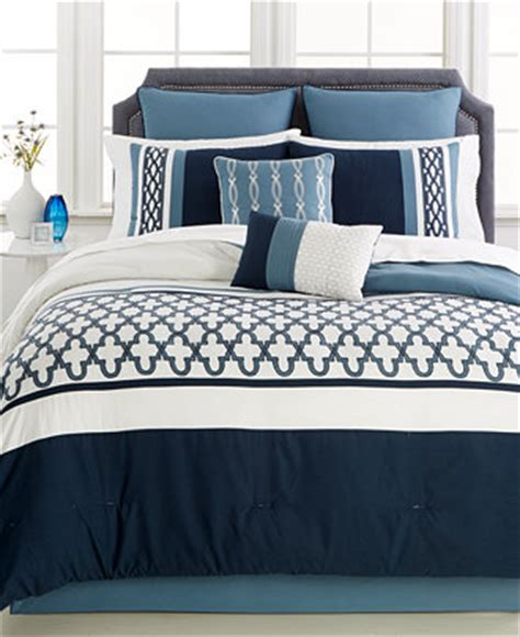 verona blue 8 pc california king comforter set bed in a