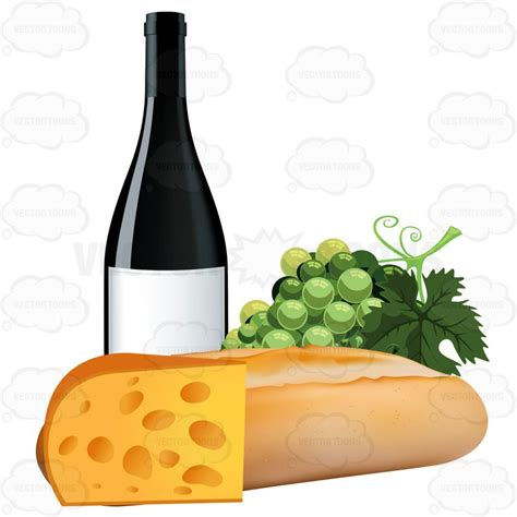 cartoon wine and cheese french bread with grapes a bottle of wine and swiss cheese
