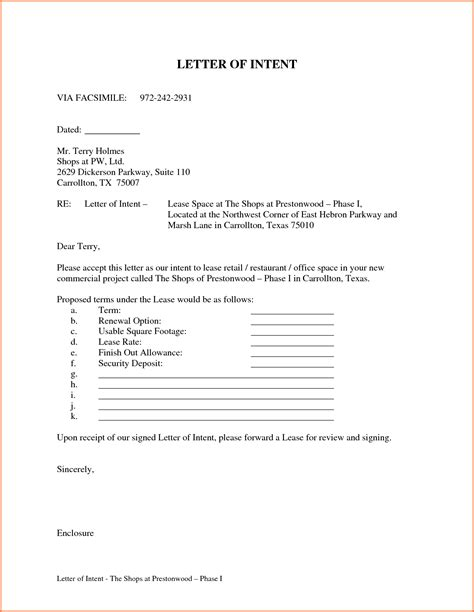 Letter Of Intent For Lease Template Tomyumtumweb Com Letter Of Intent To Lease Template