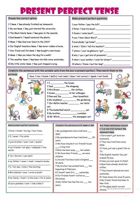 pattern of simple present perfect tense have you ever worksheet free esl printable