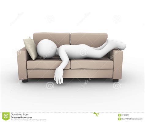 Comfortable Reading Chair 3d man sleeping on sofa couch stock illustration image
