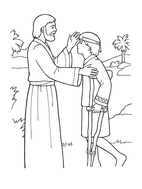 coloring page jesus healing sick free coloring pages of jesus heals a sick boy