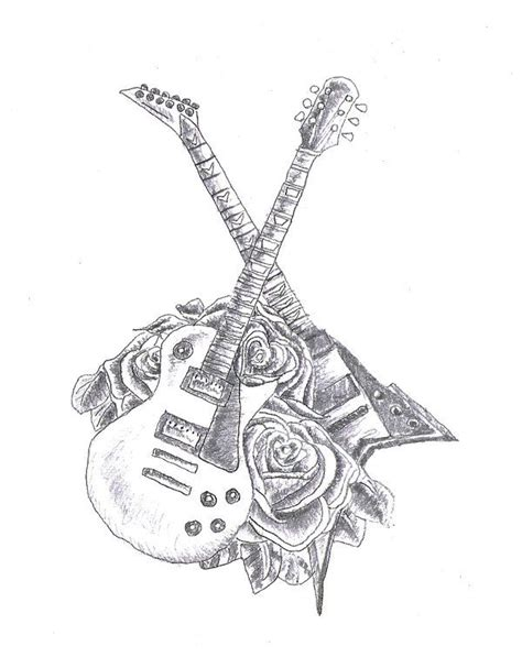 electric guitar tattoo designs could get the acoustic and the silver electric