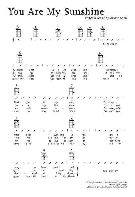 strumming pattern for yellow you are my sunshine partition par jimmie davis ukulele