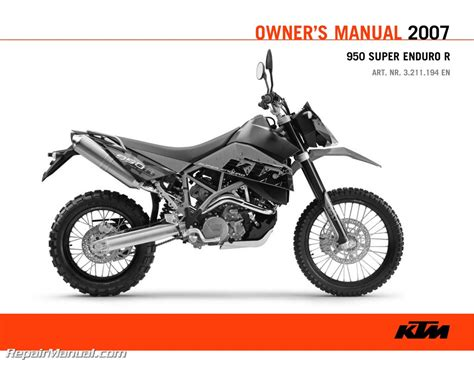 Ktm Manual 2007 Ktm 950 Enduro Motorcycle Owners Manual Paper