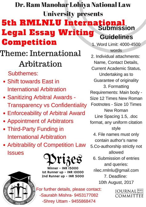 Essay Writing Competition by Leggerhythms 5th Rmlnlu International Essay Writing Competition Submit By 10 August 2017