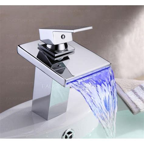 automatic bathroom faucet automatic waterfall brass bathroom led faucets one hole