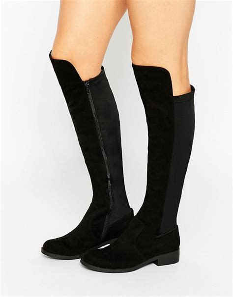 asos asos connor stretch knee high boots