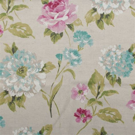 floral curtain fabric watercolour floral tartan check linen cotton panama