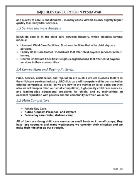 business plan template for daycare center business plan for quot a childcare center in peshawar quot