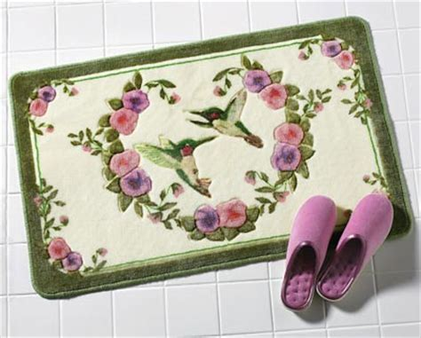 Floral Bath Mat - hummingbird floral bath accent rug from collections etc