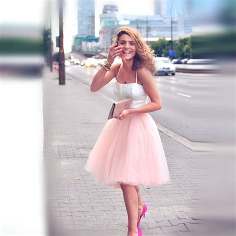 Rok Sogan Pink Classic Nu 01 high fashion tulle skirt with five layers one lining a line custom made knee